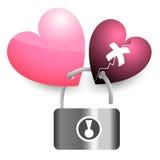 Chave de fechamento cor-de-rosa de dois corações e coração quebrado Imagem de Stock