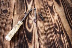 A chave de fenda e o parafuso eooden sobre o fundo Fotos de Stock