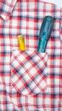 Chave de fenda no bolso da camisa Fotografia de Stock Royalty Free