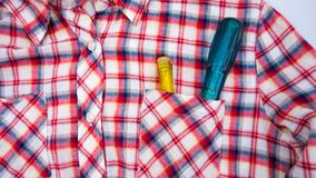 Chave de fenda no bolso da camisa Foto de Stock Royalty Free