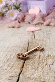 Chave de madeira com corações pequenos no dia de Valentim Fotografia de Stock