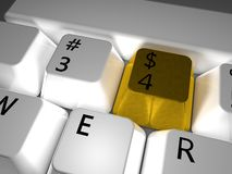 chave de $ no teclado Imagem de Stock Royalty Free
