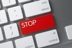 Chave de parada vermelha no teclado 3d Fotos de Stock Royalty Free
