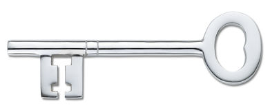 Chave de prata da porta isolada no branco (trajeto de grampeamento) Foto de Stock