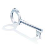 Chave de prata isolada Fotos de Stock Royalty Free