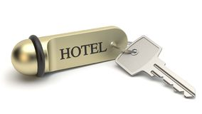 Chave de sala do hotel, ilustração 3D ilustração stock