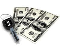 Chave do carro e 100 dólares Fotografia de Stock Royalty Free