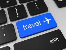 Chave do curso e símbolo do avião no teclado do laptop Imagem de Stock