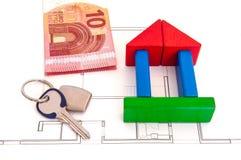 Chave do dinheiro da casa de blocos Fotos de Stock