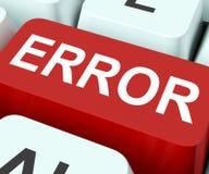 A chave do erro mostra a falha ou os defeitos do erro Foto de Stock