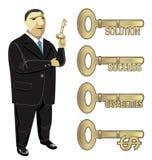 Chave do homem de negócios ao sucesso da solução do negócio ilustração royalty free