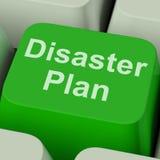 A chave do plano do desastre mostra a proteção da crise da emergência Imagem de Stock Royalty Free