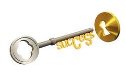Chave do sucesso e um buraco da fechadura Imagem de Stock