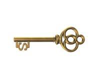 Chave do tesouro do ouro na forma do sinal de dólar, rendição 3D Foto de Stock Royalty Free