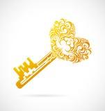 Chave dos desenhos animados com coração Imagens de Stock Royalty Free