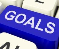 A chave dos objetivos mostra alvos ou aspirações dos objetivos Imagens de Stock Royalty Free