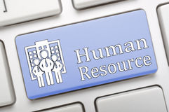 Chave dos recursos humanos no teclado Fotografia de Stock