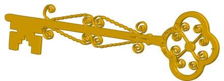 Chave dourada Imagem de Stock Royalty Free