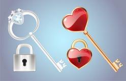 Chave dourada com a fechadura da porta fechado do fechamento do diamante e do ouro com um vetor vermelho do coração Fotos de Stock