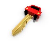 Chave dourada 3d do carro Fotografia de Stock