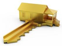 Chave dourada da casa com trajeto de grampeamento Imagens de Stock Royalty Free