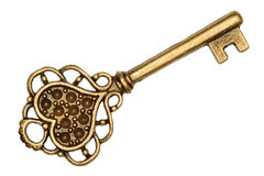 Chave dourada isolada no branco Imagem de Stock Royalty Free