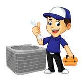 Chave e caixa de ferramentas da posse do líquido de limpeza ou do técnico da ATAC ilustração royalty free