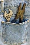 Chave e calças de brim Imagem de Stock