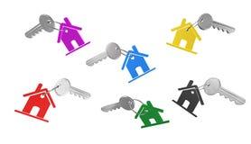 Chave e casa, ilustração 3D Imagem de Stock