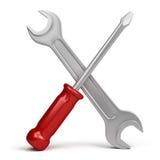 Chave e chave de fenda Foto de Stock Royalty Free