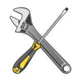 Chave e chave de fenda amarela isoladas em um fundo branco Linha arte da cor Foto de Stock