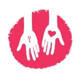 Chave e coração como um presente. Projeto do dia dos Valentim Foto de Stock