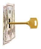Chave e dinheiro Foto de Stock Royalty Free