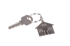 Chave e Keychain da casa isolados no branco Imagens de Stock Royalty Free
