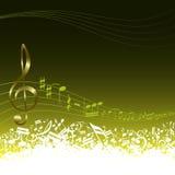 Chave e notas musicais Fotos de Stock Royalty Free