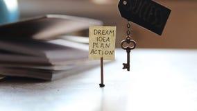 Chave e uma etiqueta com as palavras: sonho, ideia, plano, ação video estoque