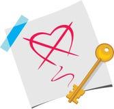A chave em uma folha de papel ilustração royalty free