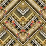 A chave grega floral telhou o teste padrão sem emenda Backg 3d listrado do vetor Imagem de Stock Royalty Free