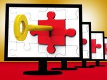 Chave no fechamento em mostras proibidas mostras dos monitores Imagens de Stock Royalty Free