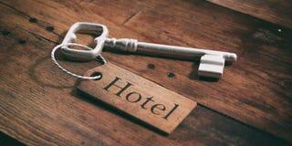 Chave velha do hotel em um fundo de madeira ilustração 3D Imagem de Stock Royalty Free