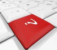 Chave vermelha do ponto de interrogação no teclado branco Imagens de Stock