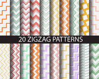 20 chaveron. 20 colorful zigzag patterns,  vector, Textures for wallpaper, fills, web page background, surface Royalty Free Stock Photos