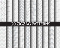20 chaveron patterns. 20 zigzag patterns, vector, Textures for wallpaper, fills, web page background, surface stock illustration