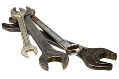 Chaves ajustáveis, chaves inglesas isoladas no branco Imagem de Stock