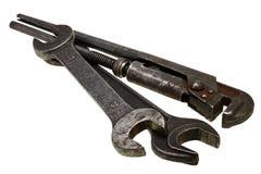 Chaves ajustáveis, chaves inglesas isoladas no branco Foto de Stock Royalty Free