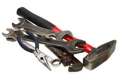Chaves ajustáveis, chaves inglesas no branco Imagens de Stock