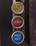 Chaves antigas da caixa registadora com recebido na conta, na carga e em notações para fora pagas Imagem de Stock