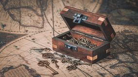 Chaves antigas na arca do tesouro foto de stock royalty free