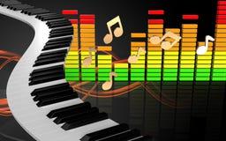 chaves audio do piano do espectro 3d ilustração stock