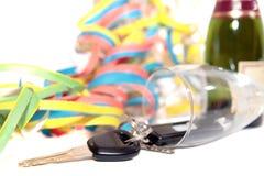Chaves caídas da flauta e do carro de champanhe Fotografia de Stock Royalty Free